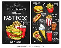 fast food sketch menu price pizza stock vector 599983778