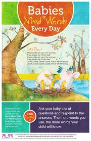 babies need words every day talk read sing play association