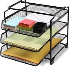 Stackable Desk Organizer Decobros Stackable 3 Tier Desk Organizer Sliver