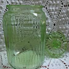hocking transparent green canister with glass lid vintage kitchen