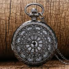 watch chain necklace images Vintage black spider web pocket watch with chain necklace pendant jpg
