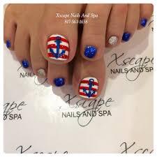 pretty pedicure nautical theme red u0026 white stripes with a blue