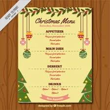 christmas menu template with winter landscape free vector