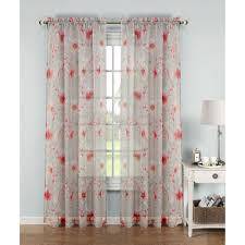 Coral Sheer Curtains Window Elements Sheer Printed Sheer Wide 54 In W X