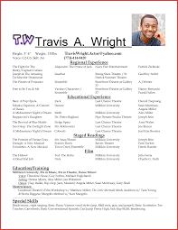 theatrical resume format acting resume format entrancing actors resume resume templates
