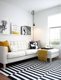 Modern Patterned Rugs by Black And White Living Room With Accent Color Yellows Wall