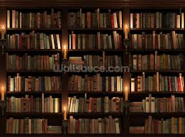 bookcase and candles wallpaper wall mural wallsauce