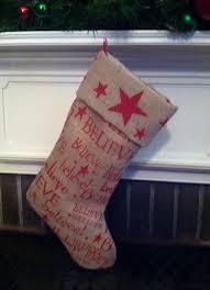 rustic believe burlap christmas stocking christmas rustic