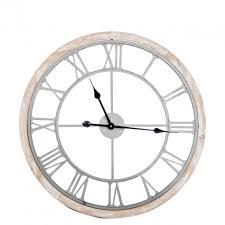 Horloge Murale Ronde Blanche Avec Murale Ronde Style Industriel Avec Chiffres Romains Grand Diamètre