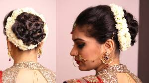 marriage bridal hairstyle hairstyle twisted bun with gajara bridal hairstyle youtube