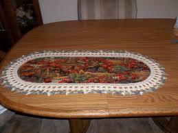 autumn harvest table linens crocheted table runner fall harvest fabric center crocheted edging