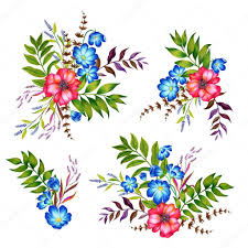 image of garden flowers set of 4 bouquets of flowers botanical illustrations of garden