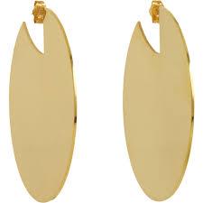 gold disc earrings lyst aesa gold solar disc earrings in metallic