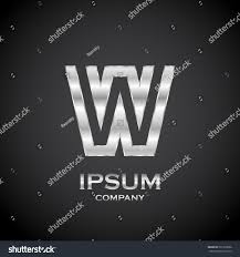 letter w metallic texture3d glossy metal stock vector 591939836