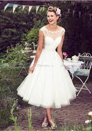tulle wedding dress line princess scoop neck tea length tulle wedding dresses with