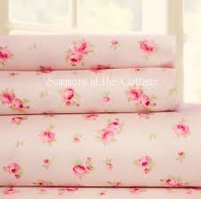shabby bella pink roses on blush pink cottage chic sheet set