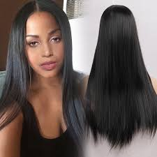 long black hair with part in the middle long middle part straight heat resistant synthetic wig in jet black