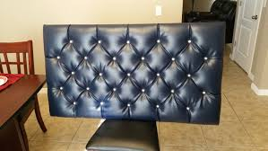 How To Make A Tufted Headboard Diy Blue Tufted Floating Headboard With Pattern