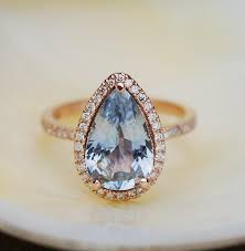 light blue sapphire ring blue sapphire engagement ring 14k rose gold 3 84ct pear cut sky