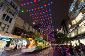 christmas lights in melbourne bourke street mall editorial photo
