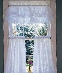 Country Ruffled Valances Window Toppers Dotted Swiss Ruffled Puff Valance Country Curtains