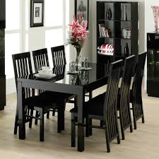 Black Wood Dining Table Decorative Striped Pillow On Display Cabinet Feat Stylish Black
