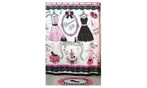 Pretty Bathroom Rugs Glam Pretty In Pink Fabric Shower Curtain And Bath Rug Set