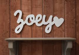 zoey baby name wooden sign with heart nursery decor baby name