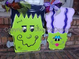 Wood Halloween Crafts Halloween Door Hanger In Stock Fall Door Hanger Frankenstein