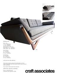 Couch Depth Craft Associate Sofa 1404 Tear Sheet U2013 Craft Associates Furniture