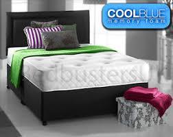 blue gel foam divan bed set mattress headboard size 3ft 4ft6