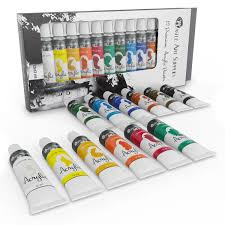 acrylic paint set for beginners students or artists a perfect mix of quality and versatility colours easy to blend and good coverage on paper