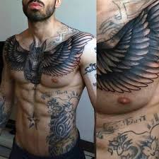 gorgeous black ink chest of god with wings