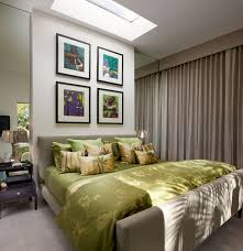 Beige And Green Curtains Decorating Green Bedding Set On Beige Bed And Four Picture Frames On White