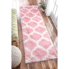 Pink Runner Rug Nuloom Cozy Soft And Plush Faux Sheepskin Trellis Shag