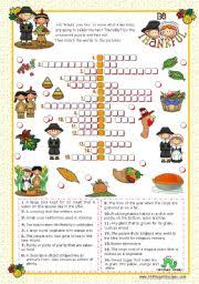 worksheets thanksgiving crossword puzzle