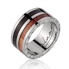 wood wedding rings dakkar macassar koa wood inlaid wedding band w titanium
