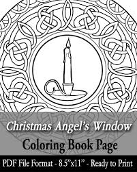 printable coloring book christmas angel u0027s window stained