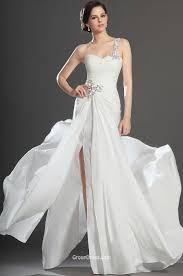 white chiffon beaded one shoulder sleeveless slit long prom dress