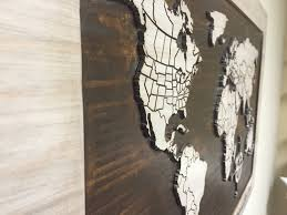 world map with countries u0026 states wood wall art carved world map