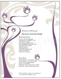wedding anniversary program printable purple lotus flower program template
