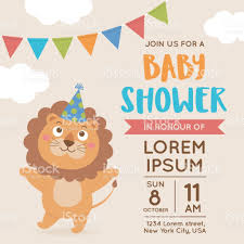 Baby Shower Invitations Card Cute Lion Illustration For Baby Shower Invitation Card Design