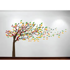 innovative stencils wind blowing tree cherry blossom nursery wall