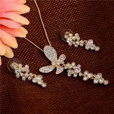 flowers with butterfly necklace images Minhin pretty heart design pendant silver jewelry set delicate jpg