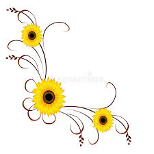 corner ornament with sunflowers stock vector image 71875734