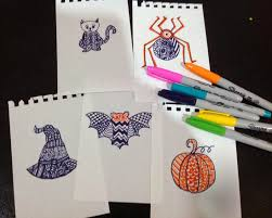 Art Craft Halloween by Using Zentangle Inspired Art For Kids As A Quick Halloween Craft