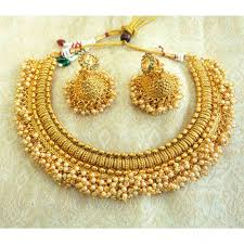 bridal choker necklace images Buy lalso golden pearl wedding bridal choker necklace set with jpg