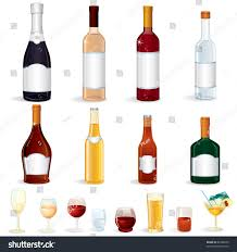 alcoholic drinks bottles different glass bottles alcoholic drinks vector stock vector