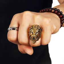 fashion rings aliexpress images Men 39 s stainless steel big lion king face head ring size 7 14 hip jpg