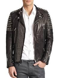 mens black leather motorcycle jacket diesel black gold studded leather biker jacket in black for men lyst